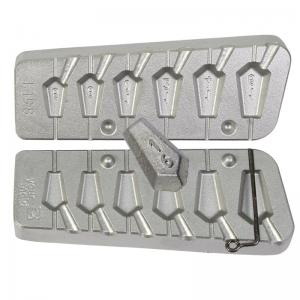 Fishing mold for 6 fiveangled flat leads 6-8-10-12-14-16 grams N 0198