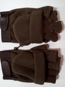Gloves Green olive without fingers fleece
