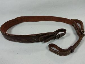 Gun belt brown leather English model with decoration