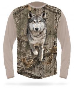Hunting Clothes 3DX Camo Wolf Running T-shirt L long sleeve Hillman