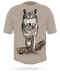 Hunting Clothes 3D Wolf Running T-shirt XL beige short sleeve Hillman