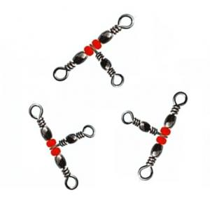 10Pcs Fishing Snap Swivel 3 Way Barrel Swivel Ring Fishhook Lure Line Connector With Beads Fishing Accessory X337 N10x12