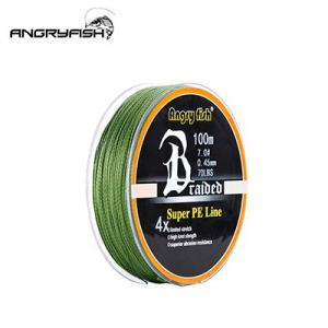 Line Angryfish Wear resistant 100m 4 Strands Braided Fishing Line 11 Colors Super PE Line Strong Strength Fish