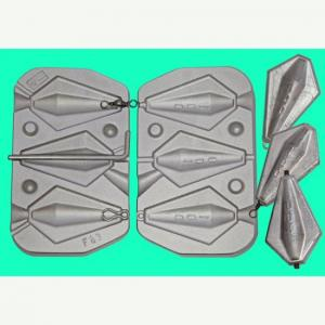 Cast for lead triple trapezoid shaped 100 grams with rings and tube N F083
