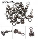 5 PCs Set Portable Carbon Steel Ball Bearing Barrel Durable Gourd Shape Fishing Rolling Swivel Connector Solid Ring High Quality Size L